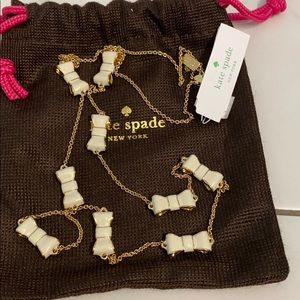 Kate Spade Take A Bow Scatter Necklace Cream/Gold